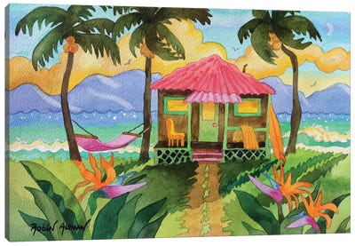 Tropical House Pink Roof Canvas Art Print