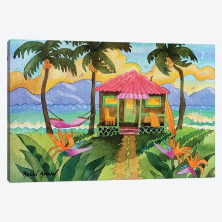 Tropical House Pink Roof Canvas Print #WAL41} by Robin Wethe Altman Canvas Artwork