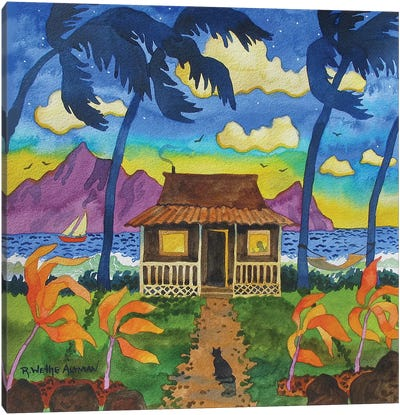 Tropical Hut With Cat Canvas Art Print