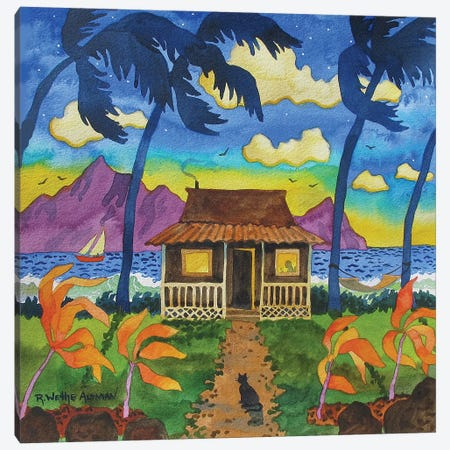 Tropical Hut With Cat Canvas Print #WAL42} by Robin Wethe Altman Canvas Wall Art