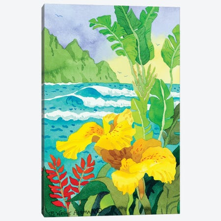 Yellow Cannae With Waves Canvas Print #WAL47} by Robin Wethe Altman Canvas Art Print