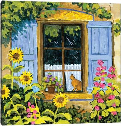 Cat In Window Canvas Art Print