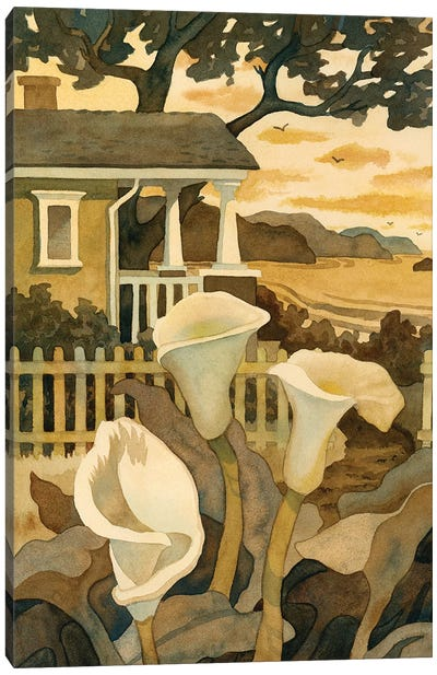Craftsman Cottage By The Sea Canvas Art Print