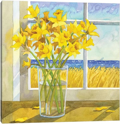 Daffodils In The Window Canvas Art Print