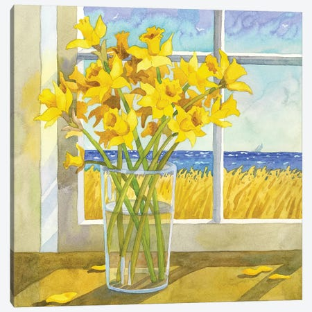 Daffodils In The Window Canvas Print #WAL8} by Robin Wethe Altman Canvas Wall Art