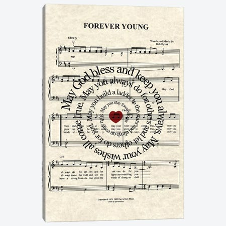 Forever Young By Bob Dylan Canvas Print #WAM10} by WordsAndMusicArt Canvas Art
