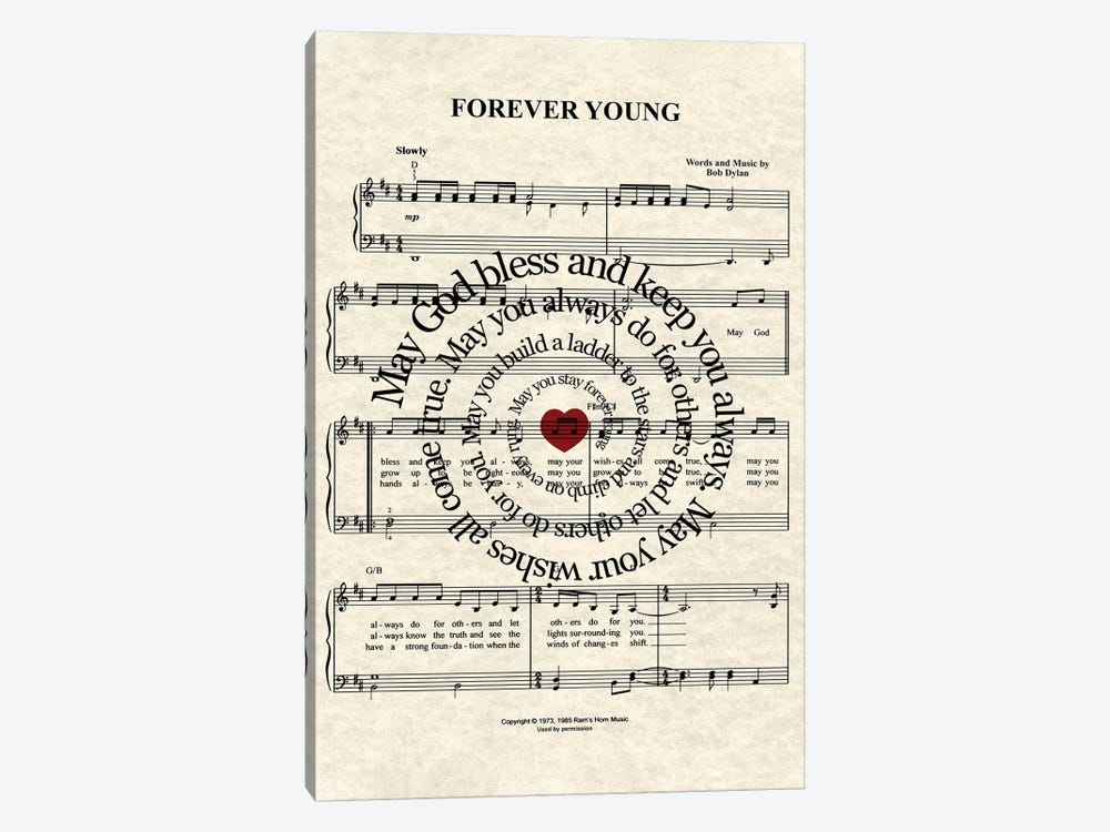 Forever Young By Bob Dylan by WordsAndMusicArt 1-piece Canvas Artwork