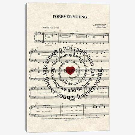 Forever Young By Rod Stewart Canvas Print #WAM11} by WordsAndMusicArt Canvas Art