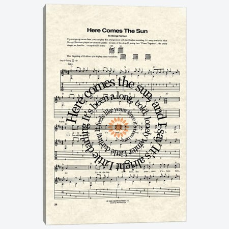 Here Comes The Sun Canvas Print #WAM13} by WordsAndMusicArt Canvas Art