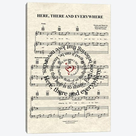 Here, There And Everywhere Canvas Print #WAM14} by WordsAndMusicArt Art Print