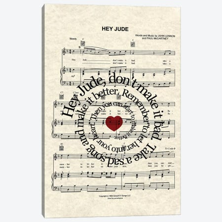Hey Jude Canvas Print #WAM15} by WordsAndMusicArt Canvas Print