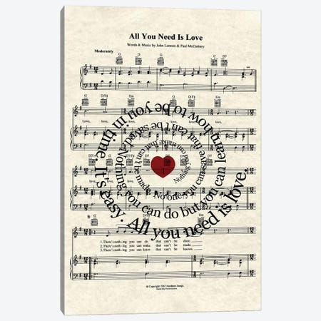 All You Need Is Love Canvas Print #WAM1} by WordsAndMusicArt Canvas Print