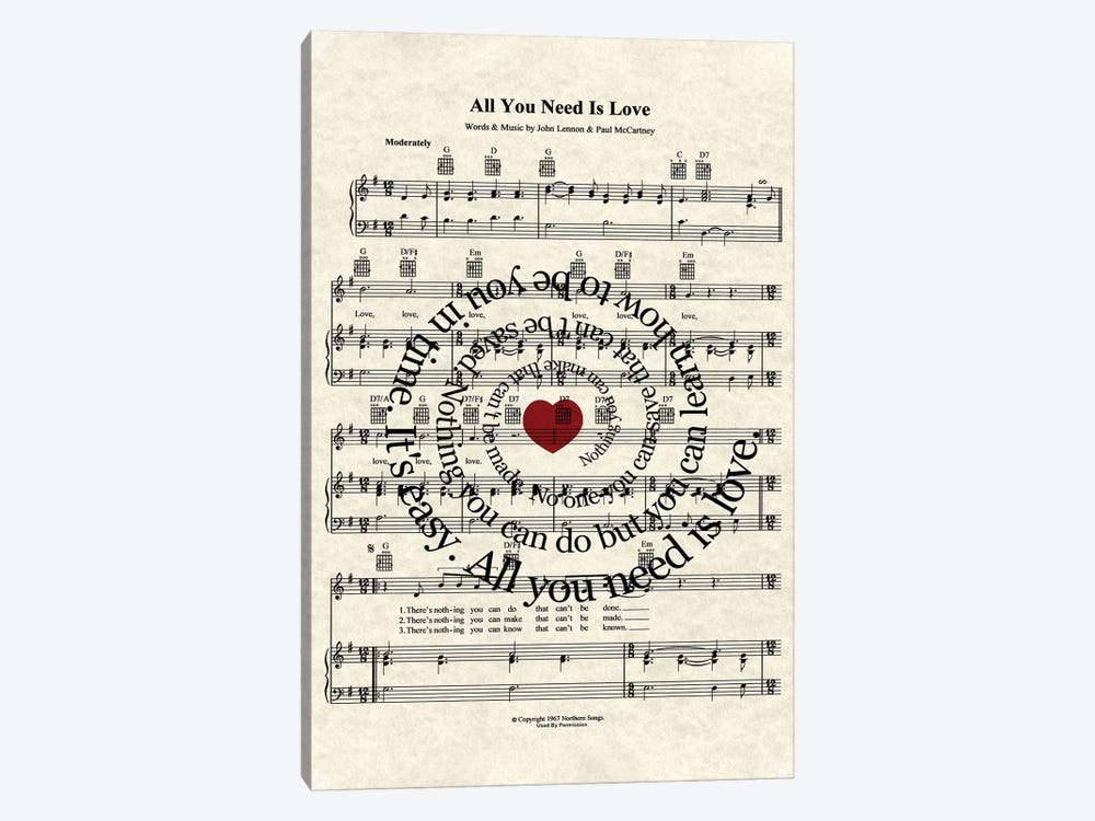 All You Need Is Love by WordsAndMusicArt 1-piece Canvas Art