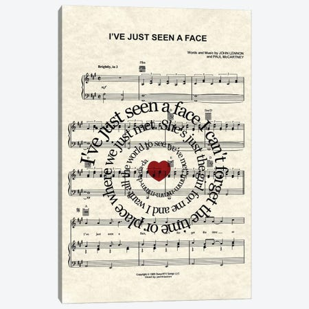 I've Just Seen A Face Canvas Print #WAM20} by WordsAndMusicArt Canvas Art Print
