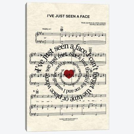 I've Just Seen A Face Canvas Print #WAM20} by WordsAndMusicArt Canvas Art Print
