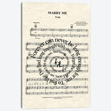 Marry Me Canvas Print #WAM25} by WordsandMusicArt Canvas Wall Art