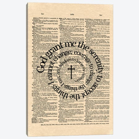 Serenity Prayer Canvas Print #WAM31} by WordsAndMusicArt Canvas Wall Art