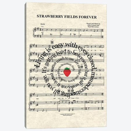 Strawberry Fields Forever Canvas Print #WAM34} by WordsAndMusicArt Canvas Print