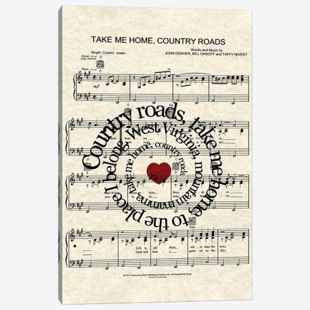 Take Me Home Country Roads Canvas Print #WAM36} by WordsAndMusicArt Canvas Print