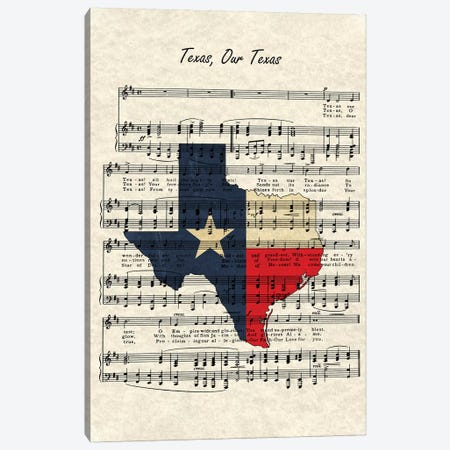 Texas, Our Texas Canvas Print #WAM37} by WordsAndMusicArt Canvas Art Print