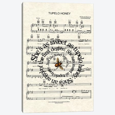 Tupelo Honey Canvas Print #WAM39} by WordsAndMusicArt Canvas Artwork