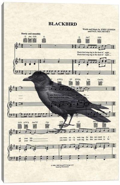 Blackbird With Large Bird Canvas Art Print