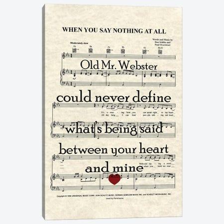 When You Say Nothing At All II Canvas Print #WAM42} by WordsAndMusicArt Art Print