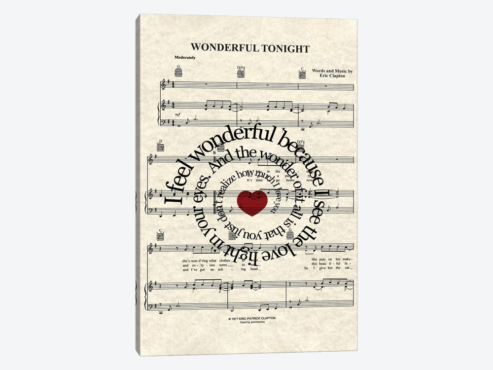 Wonderful Tonight by WordsAndMusicArt 1-piece Canvas Art