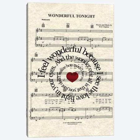 Wonderful Tonight Canvas Print #WAM45} by WordsAndMusicArt Canvas Wall Art