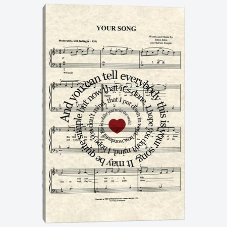 Your Song Canvas Print #WAM46} by WordsandMusicArt Canvas Wall Art