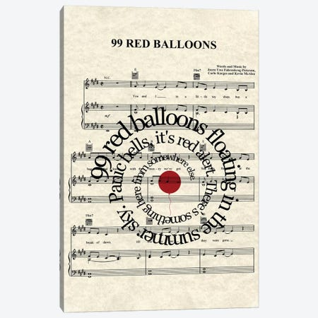 99 Red Balloons Canvas Print #WAM47} by WordsAndMusicArt Canvas Artwork
