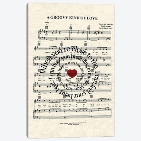 A Groovy Kind Of Love 3-Piece Canvas #WAM48} by WordsAndMusicArt Canvas Print