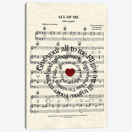 All Of Me 3-Piece Canvas #WAM49} by WordsAndMusicArt Canvas Art Print