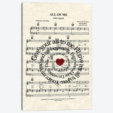 All Of Me Canvas Print #WAM49} by WordsAndMusicArt Canvas Art Print