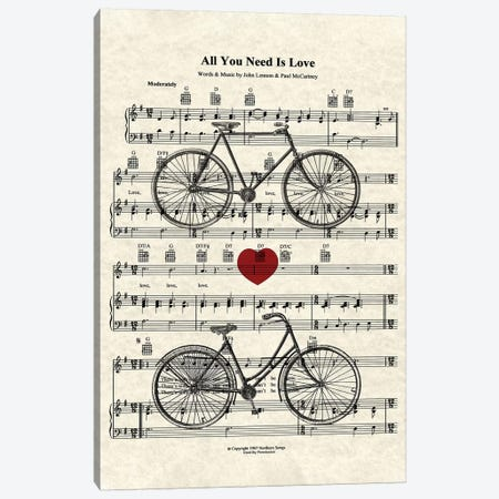 All You Need Is Love - His And Her Bicycles Canvas Print #WAM50} by WordsAndMusicArt Canvas Artwork