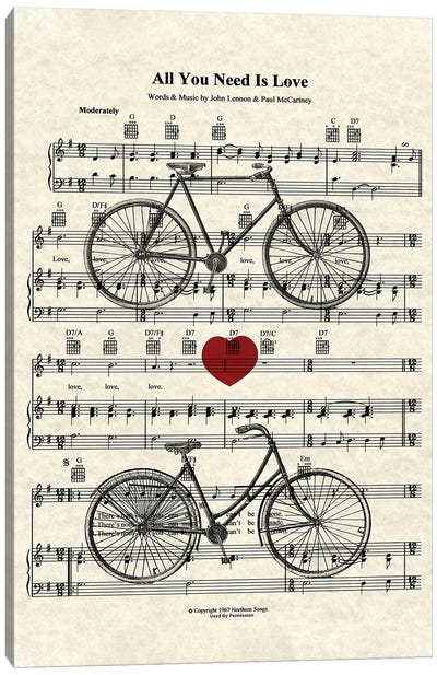 All You Need Is Love - His And Her Bicycles Canvas Art Print