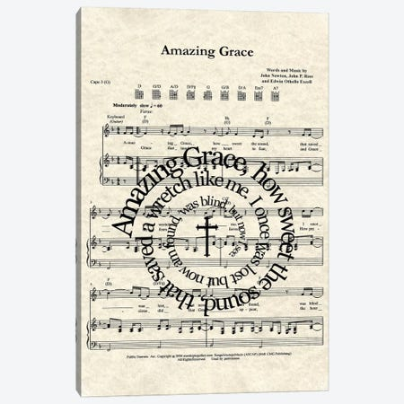 Amazing Grace Canvas Print #WAM51} by WordsAndMusicArt Canvas Wall Art