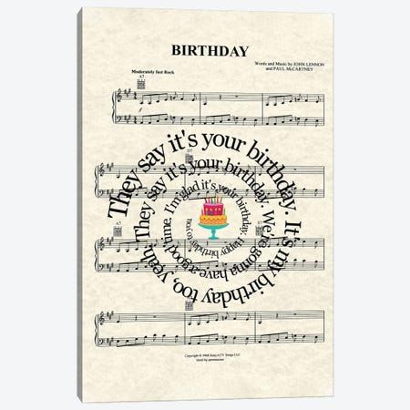 Birthday Canvas Print #WAM55} by WordsAndMusicArt Canvas Art Print