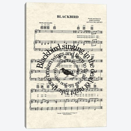 Blackbird - Version Two Canvas Print #WAM56} by WordsAndMusicArt Canvas Print