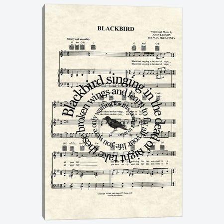 Blackbird - Version Two Canvas Print #WAM56} by WordsAndMusicArt Canvas Print