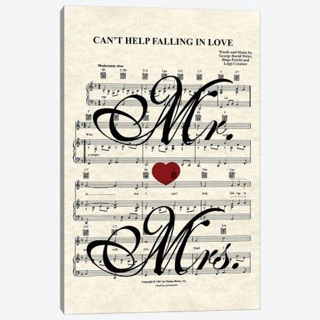 Can't Help Falling In Love - Mr And Mrs Canvas Print #WAM57} by WordsAndMusicArt Canvas Print