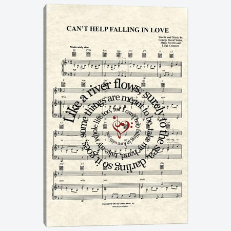 Can't Help Falling In Love Canvas Print #WAM5} by WordsandMusicArt Canvas Wall Art