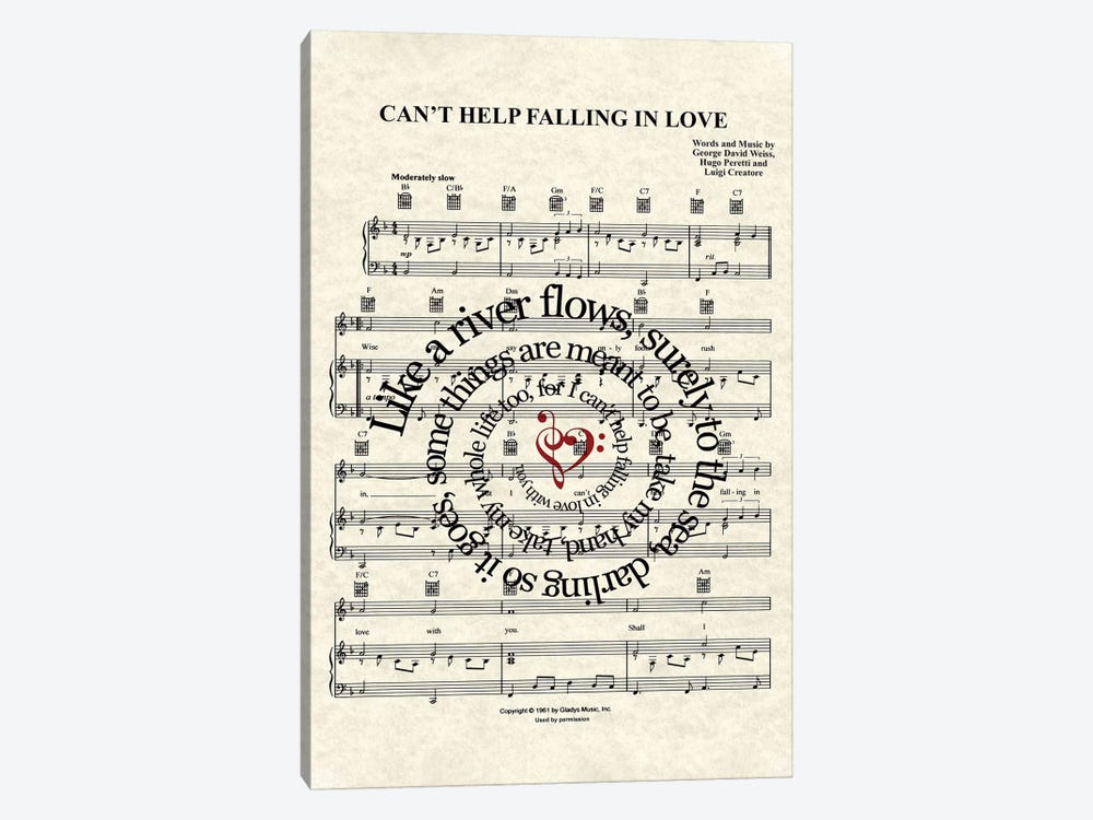 Can't Help Falling In Love by WordsAndMusicArt 1-piece Canvas Wall Art