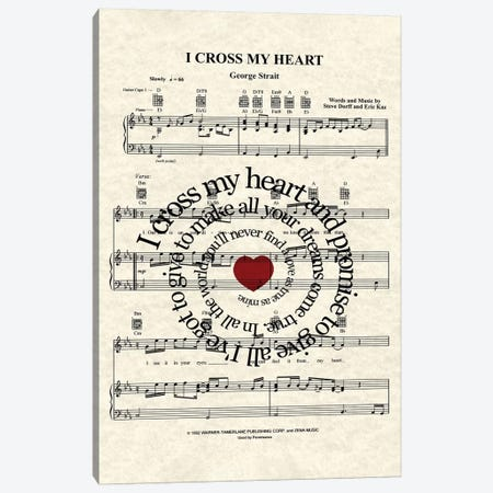 I Cross My Heart Canvas Print #WAM62} by WordsAndMusicArt Canvas Print