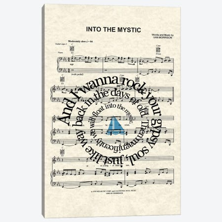 Into The Mystic - Blue Sail Boat Canvas Print #WAM67} by WordsAndMusicArt Canvas Art