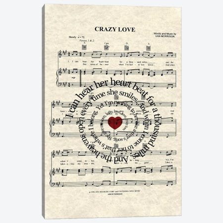 Crazy Love Canvas Print #WAM6} by WordsAndMusicArt Canvas Art