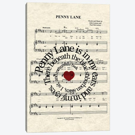 Penny Lane Canvas Print #WAM70} by WordsAndMusicArt Canvas Wall Art