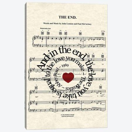 The End - Red Heart Canvas Print #WAM73} by WordsAndMusicArt Canvas Artwork