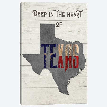 Deep In The Heart Of Texas - Version 2 Canvas Print #WAM81} by WordsAndMusicArt Art Print