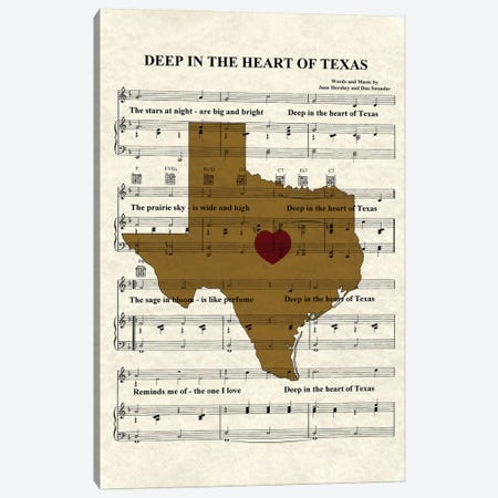 Deep In The Heart Of Texas Canvas Print #WAM8} by WordsAndMusicArt Art Print